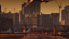 London City Airport - Telephoto shot of a large airliner landing facing the Stock Footage