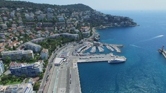 Marina with vessels in port of Nice near Mont Boron quarter Stock Footage