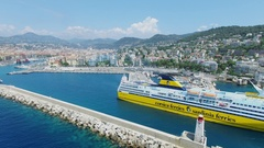 Port of Nice panorama with Mega Express Two ferryboat moves backward Stock Footage