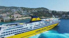 Mega Express Two ferryboat moves near Mont Boron quarter and port Stock Footage