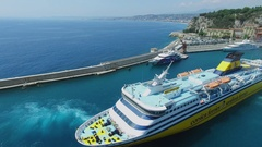 Seascape and ferryboat Mega Express Two sails in port of Nice Stock Footage