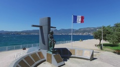 Monument to Fallen French submariners on sea shore at summer Stock Footage