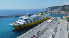 Ferryboat Mega Express Two moors near quay with cars in port of Nice Stock Footage
