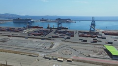 Sea port with Mourepiane container terminal and cruise liners Stock Footage