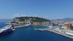 Lot of vessel on moorage in port of Nice at summer Stock Footage