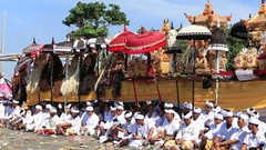 People celebrate Balinese New Year and the arrival of spring. Bali, Indonesia Stock Footage
