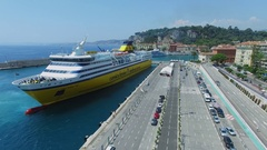 Port of Nice and ferryboat Mega Express Two which moors near quay Stock Footage