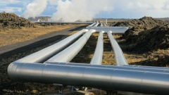 Pipes of icelandic Power Plant in Reykjanes peninsula, geothermal stations steam Stock Footage