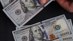 Man throws on the table 100 dollar bills. Stock Footage