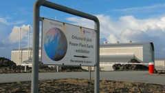 Signpost with inscriptions in english and icelandic near Reykjanes Power Plant Stock Footage