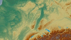 Zoom into Vosges mountain range - glowed. Relief map Stock Footage