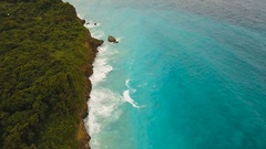 Coast sea in stormy weather.Aerial view:Boracay island Philippines Stock Footage
