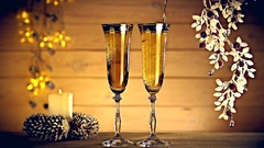 New Year and Christmas Celebration with Champagne. Stock Footage
