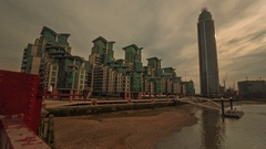 Ultra wide angle view of the Vauxhall area in London, England, UK Stock Footage