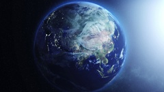 Rotating Earth with visible city lights at night Stock Footage