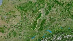 Zoom into Vosges mountain range - glowed. Satellite imagery Stock Footage