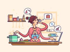 Busy mother with baby Stock Illustration