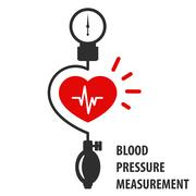 Blood pressure measurement icon - heart and sphygmomanometer Stock Illustration