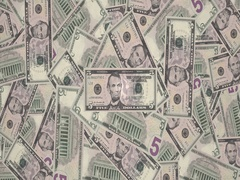 Mountain of banknotes of five dollars americans, cash money Stock Footage