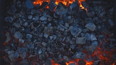 Coal burning in a brazier grill. Stock Footage