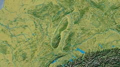 Zoom into Vosges mountain range - glowed. Topographic map Stock Footage