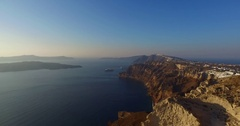 Panoramic view of the Santorini caldera, taken from Oia Stock Footage