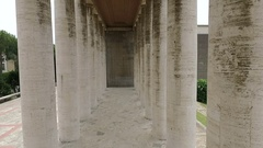 Rome Eur. The drone flies between two colonnades. Stock Footage