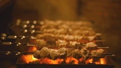 Roasting shish kebabs on the grill. Stock Footage