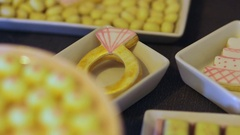 Candy Bar Wedding, candy buffet, delicious Candy bar at a wedding Stock Footage