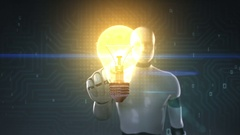 Robot, cyborg touched screen, bulb light, showing IDEA concept. Stock Footage
