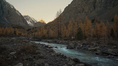 Cascading White Water Rocky Mountain River Running Through Siberian Highland Stock Footage