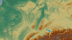 Zoom into Vosges mountain range - masks. Relief map Stock Footage