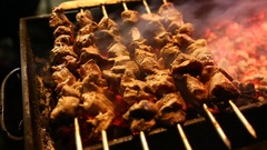 Barbecue grilled on charcoal Stock Footage