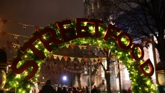The christmas arch of the street food festival Stock Footage