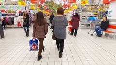 Shopping mall at Auchan Stock Footage