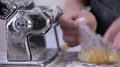 Time-lapse. Preparing home made pasta with pasta maker. Stock Footage