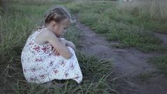 Portrait of sad little girl Stock Footage