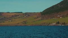 Boat trip shot along Loch Ness in Scotland, UK Stock Footage