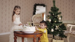 Cute little girl and boy lay sweet snowflakes on a Christmas cake. beautiful Arkistovideo