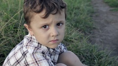 Portrait of sad little boy Stock Footage