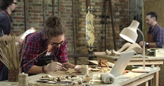 Busy Hipster Workshop Stock Footage