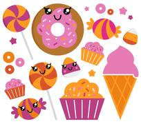 New in shop : hand-drawn Candy set Stock Illustration