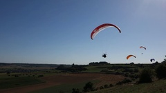 Paraglider in French landscape Stock Footage
