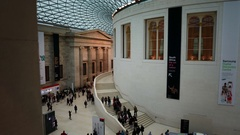 Panning shot of the Great Court of the British Museum in London Stock Footage