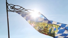 Bavarian flag with sun. Bavaria, germany Stock Footage