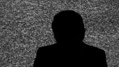 Silhouette tv noise man suicide Stock Footage