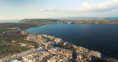 Aerial shot of a seashore in Malta Stock Footage
