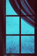 Wooden Window with Raindrops Stock Illustration