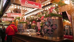 4K Christmas Fair market Fruit Punch stall Munich Germany Europe Stock Footage