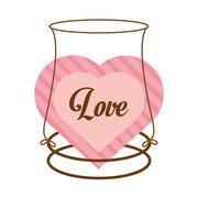 Love decor card cute heat Stock Illustration